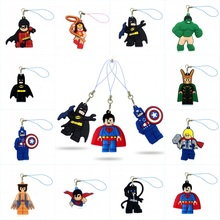 1PCS Cartoon Super Heroes PVC Cell Phone Decor Hanging Ornament Phone Straps Keychains Bag Accessories Party Gift Fashion Charms(China)