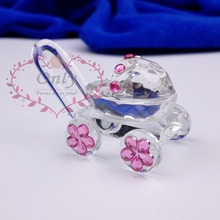 Free Shipping 30PCS/LOT Cute Crystal Glass Baby Carriage Baby Shower Favors
