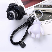 camera sound light keychains flashlight sound rings toys simulation camera key chains mini gift PU rope big white key ring