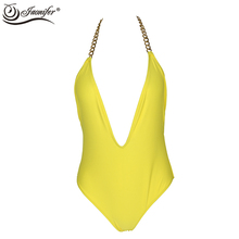 Women Halter Chain One Piece Swimsuit Swimwear 2017 Women's Halter Swimming Bathing Suit Ladies Backless Swimsuits Yellow(China)