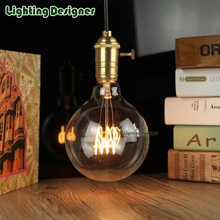 G125 vintage edison bulb LED filament bulb 220v 4W T type energy saving lamp Golden bulb ampul lamp E27 led light chandelier(China)
