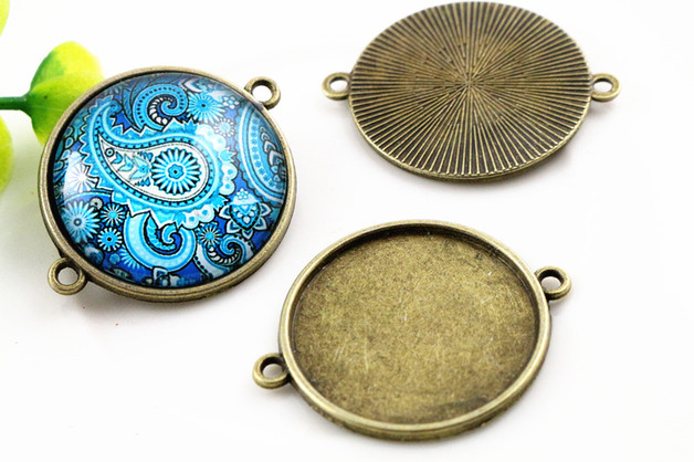 New Fashion 10pcs 25mm Inner Size Antique Bronze Classic Simple Style Cabochon Base Setting Charms Pendant (A6-25)