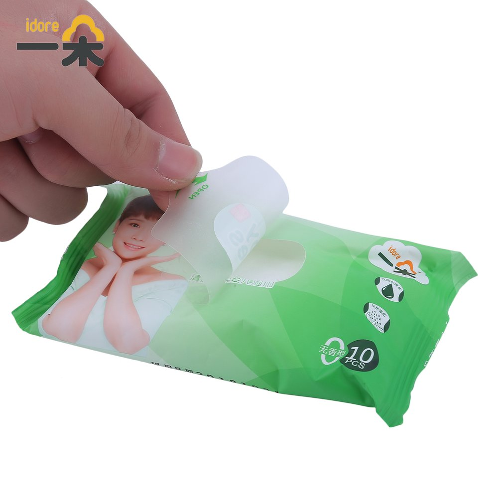 100pcs/10 Pack Idore Newborn Baby Wet Wipes Fresh Soft Moist Toddler Infant Disposable Portable Tissue Skin Clean Care Wet Wipes 5