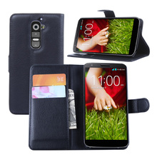 Fashion Original PU Leather Flip Case Cover For LG G2 D802 Case Cell Phone Shell Back Cover With Card Holder & Color Black(China)