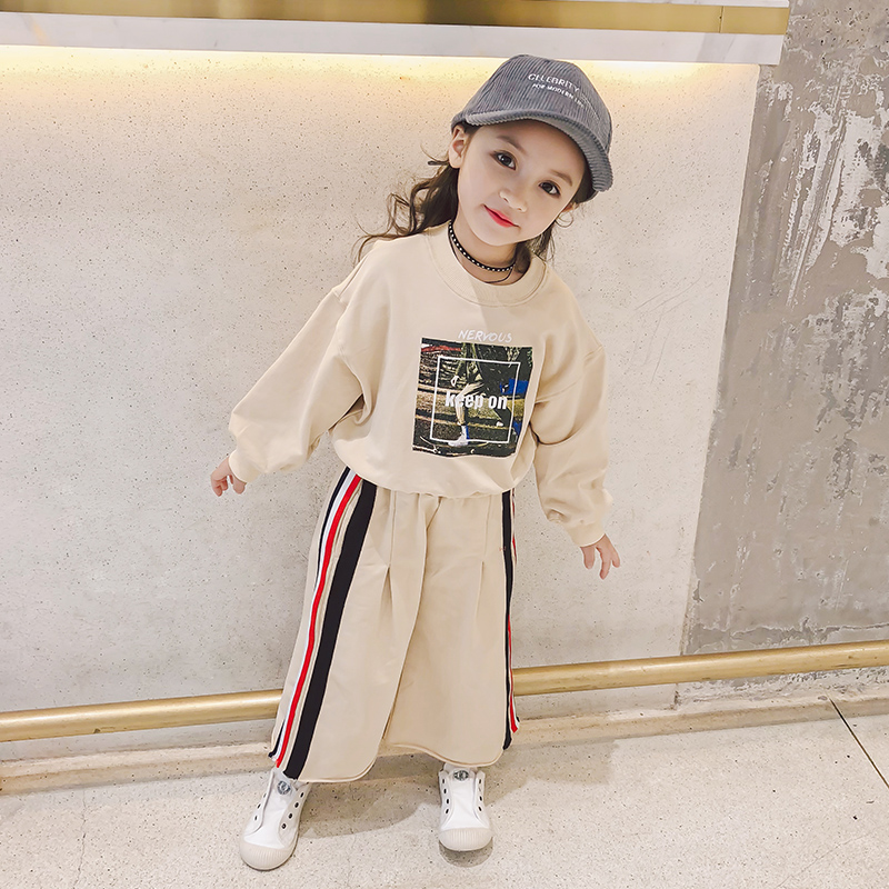 Childrens sports suit 2018 spring new girls loose print clothes with pants wide leg pants two sets<br>