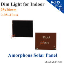 25x20mm 2.0V-10uA dim light Thin Film Amorphous Silicon Solar Cell ITO glass for indoor Product,calculator,toys,0-1.2V battery
