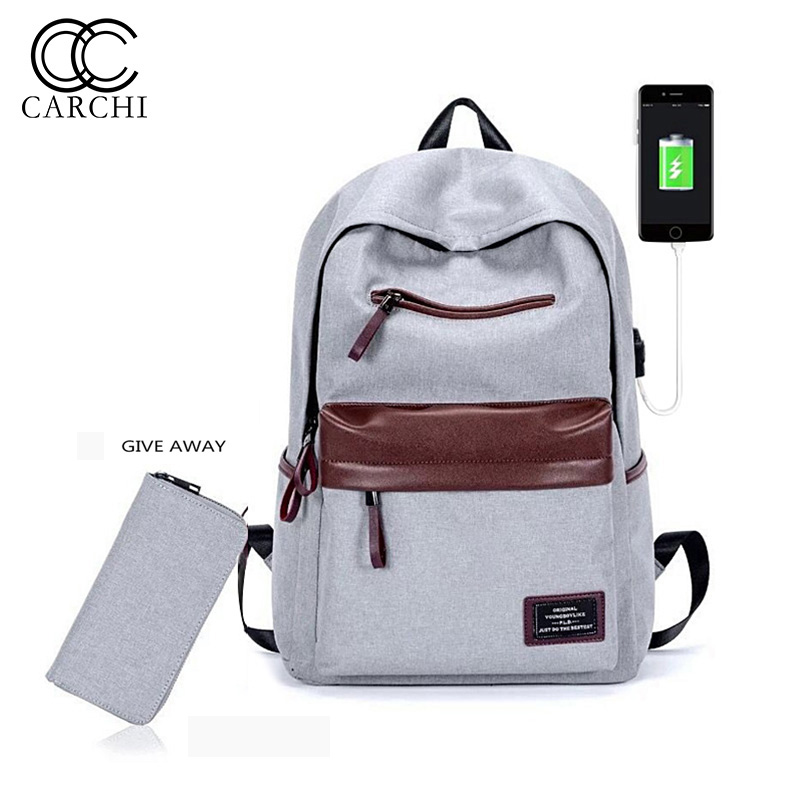 CARCHI Fashion Women Oxford backpacks Female anti theft Backpacks USB Charge Laptop Notebook Backpack For Men School Bag Unisex<br>