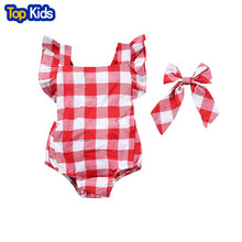 2017 Newborn Children Girl Red Plaid Sliders Overalls With Headwear Outfit Baby Girl Clothing MBR018