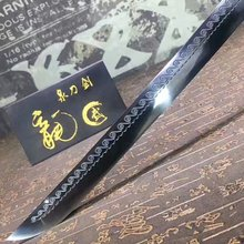 HandMade Japanese Sword Katana Sharpened High Manganese Blade Ebony Scabbard HL
