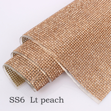24*40cm Rhinestone Trim SS6/SS8 Lt peach Crystal Mesh Hotfix roll strass Applique Banding for Decorat free shipping(China)