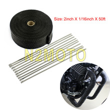 Black Fiberglass 15 Meters Exhaust Muffler Pipe Roll Warp 1000F Thermal Insulating Warp 2 Inch 50ft Header Heat Wrap tape