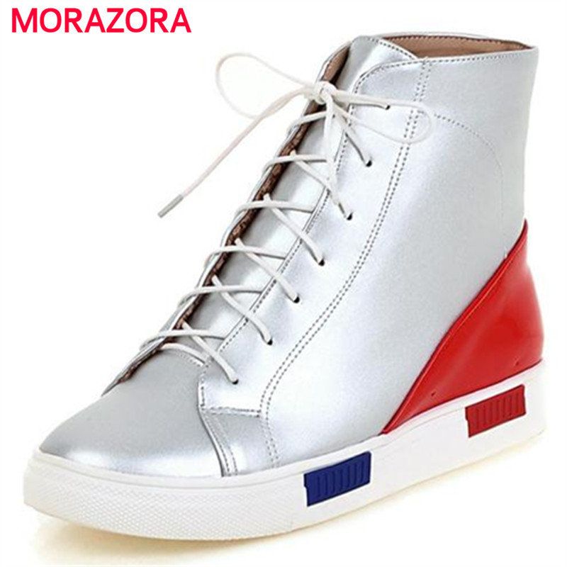 Unique fashion mixed colors ankle boots for women platform shoes soft leather round toe big size 34-44 lace up flat with<br><br>Aliexpress