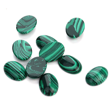 10pcs/lot 10*14/13*18/18*25mm Malachite Cameo Cabochon Natural Stone Beads Diy Cabochon Setting Findings Jewelry Making F5019(China)