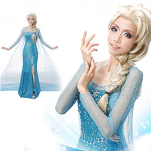 Elsa Queen Princess Adult Women Cocktail Party Dress Costume Elsa Dresses Blue Bling Snow Cosplay Dress