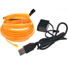 1M 3FT 8mm Sewing Edge Neon Light Dance Party Car Decor Light Neon Flexible EL Edge Wire Rope Tube LED Strip With 5V USB Plug