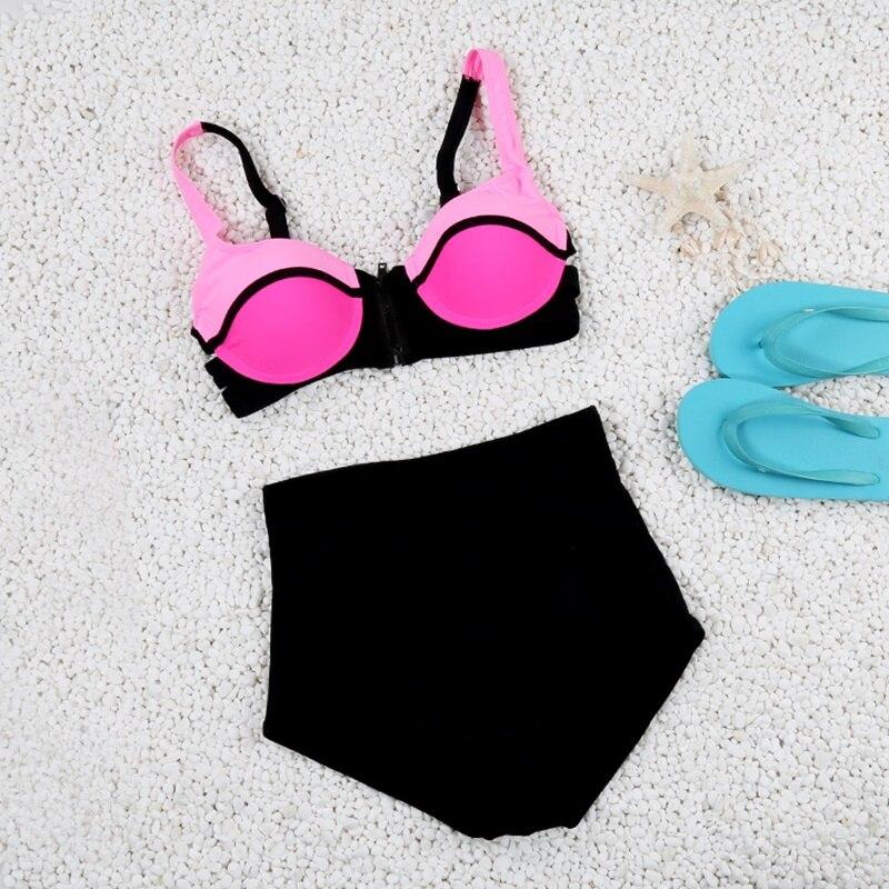 2017 High Waist Bikini Set Women Push Up Swimwear Zipper Swimsuit Patchwork Top Black Bottom Summer Beach Bathing Suit FD81603<br><br>Aliexpress