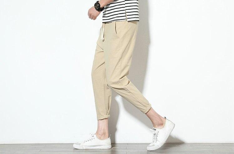 Cotton Linen Joggers Khaki Men's Harem Pants 5