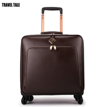 "TRAVEL TALE 16""24 inch black/coffee retro carry on travel bag leather suitcase on wheels"