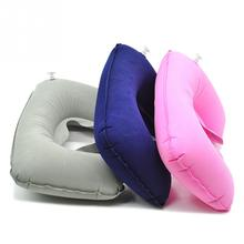 Soft Shape Pillow for Car Flight Travel Portable Inflatable U-Shape Flocked Pillow For Neck Comfort Headrest Rest in Car