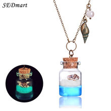 SEDmart Design Conch Glowing Sand Beach Ocean Wish Bottle Necklace Handmade Lumious Crystal Glass Sea Snail Necklace Gift Women(China)