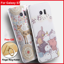 Vpower tpu for samsung galaxy s7 3d Silicone case cartoon cover back soft house for galaxy s7 + free finger ring holder