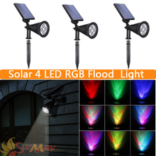 Solar Spotlight RGB Colorful Garden Path Stree Decoration Led Lamp Solar Power Floodlight Lawn Lamp Landscape Lamp Luminaria