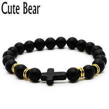 Cute Bear Brand New Style Cross Bracelet Men Natural Frosted Matte Stone Beads Bracelets Christian Faith Bracelet Unisex Jewelry