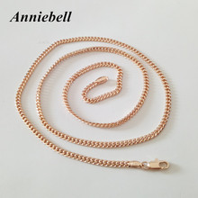 Anniebell 2017 New Trendy Rose Gold Color Jewelry Women Bijouterie Women Necklace Copper 60Cm Long Women Necklace Factory Direct