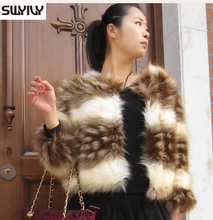 Striped Fur Coat Color Block Short Jacket Autumn And Winter Faux Fox Fur Outerwear Cheap Clothing