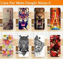 hot colorful painting tiger flowers cell mobile phone case hard Back cover skin shell for Motorola Moto Google Nexus 6 Nexus6