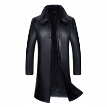 1608 New Fashion Winter Men Clothing Genuine Leather Coat With Lamb Fur linner Man Long Trench Coat(China)