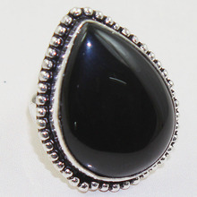 Black Onyx  Ring  Silver Overlay over Copper , Size: 7 ,  R0427