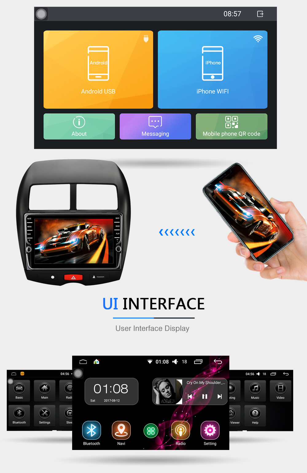 2G+16G HD 1024800 Quad Core Android 6.0 Car DVD GPS Navigation For MITSUBISHI ASX With 3G 4G Wifi Radio OBD II
