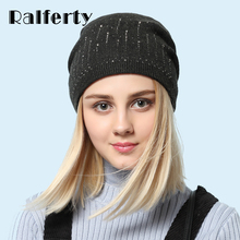 Ralferty Elegant Ladies Crystal Beanies Skullies Winter Women's Hats Knit Casual Cap Solid Colors Hedging Female Red Ski Gorros(China)