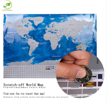 Deluxe Travel Scratch Off World Map Blue Ocean Retro Wall Sticker Diy Poster Map With Flag Home Decoration Kids Geography Gift(China)