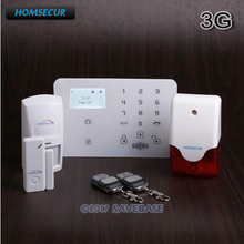(Russian/Francais/Deutsch Menu Adjustable) HOMSECUR Wireless&wired WCDMA-3G/GSM Home Security Alarm System +IOS/Android APP(China)