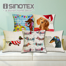 Cushion Cover Christmas Festival Dachshund 45X45cm Happy Birthday Sausage Dog Pillow Cases New Year Gift Bedroom Sofa Decoration(China)