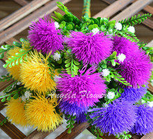 Colourful cute silk ball chrysanthemum flower fake artificial dandelion 5 heads/bouquet Outdoor garden decoration flower plant(China)