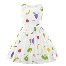 Baby Girls Printed Dress Kids Girl Cotton Casual Fruit White Design Dresses Children Summer Fancy Frock for 2 to 6 Years