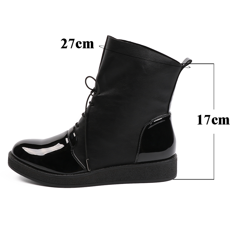 AIMEIGAO Fashion Spring Autumn Women Boots Patent PU Leather Platform Woman Shoes Plus Size Boots For Women Botas Mujer (23)