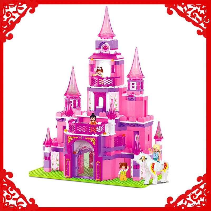 SLUBAN 0152 Block Pink Dream Princess Castle Model 472Pcs DIY Educational  Building Toys Gift For Children Compatible Legoe<br>