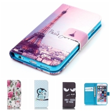 Fundas Carcasas Case Flower Beautiful Cover Owl PU Leather Fashion Wallet 2016 For iPhone ipone 5 5s 4 4s 6 6s 4.7 Bags