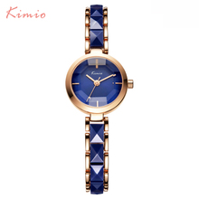 KIMIO NEW Brand Imitation Ceramic Gold Watches Women Fashion Watch Luxury Quartz-watch Wristwatches Women's Watches For Women(China)