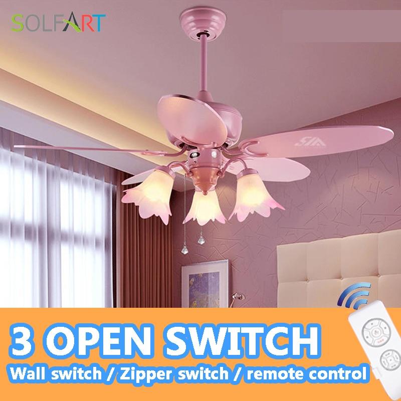solfart deckenventilator fernbedienung stumm und sicherheit sparen energie kinderzimmer fhrte deckenventilator lampe rosa deckenventilatoren slf2018 - Einziehbarer Deckenventilator