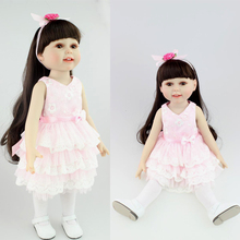 "18"" American doll girls with dress shoes black hair Reborn Baby doll silicone baby doll baby toys for girls gift"