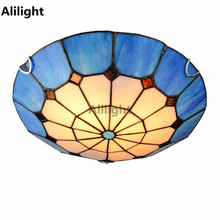 Tiffany Mediterranean Ceiling Lights Cloud Shape Round Ceiling Lamp for Dining Room Hall Aisle Led Flush Mount Indoor Lighting