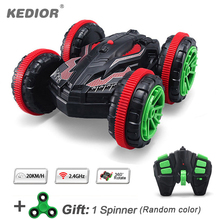 1:18 RC Stunt Car 360 Rotate Remote Control Car Driving on Water and Land Amphibious Electric Toys Children gift 1 spinner(China)