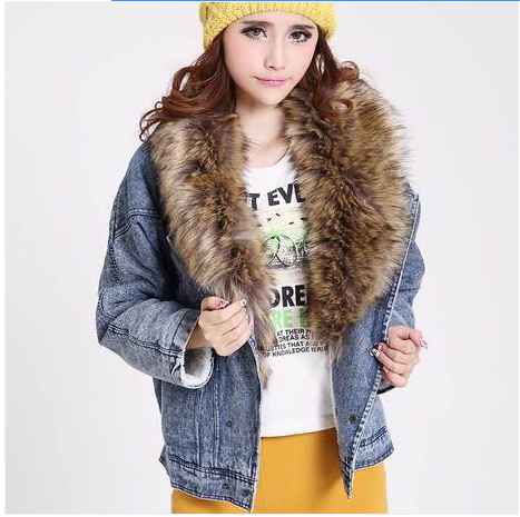 2016Women Autumn Coat Detachable Furt Collar Batwing Sleeve Denim Outerwear Jacket Type Wadded Womens Jackets And Coats 6108 - 1Одежда и ак�е��уары<br><br><br>Aliexpress