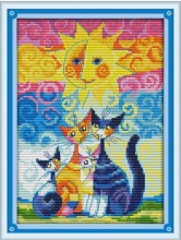 Cats and The Sun Counted Cross Stitch DMC color DIY 11CT 14CT 18CT cotton multi picture Handmade Embroidery Needlework plus