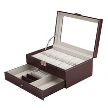 Professional 12 Grids Slots Watches Storage Box PU Leather Double Layers Watch Case Organizer Box Holder Black Brown Colors